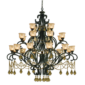 Heavy Chandelier from Crystorama in Wrought Iron
