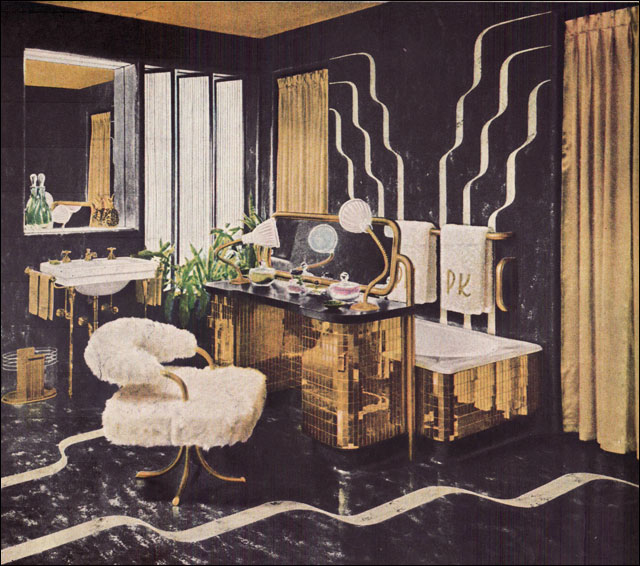 Hollywood Glamor Bathroom Sketch from 1946
