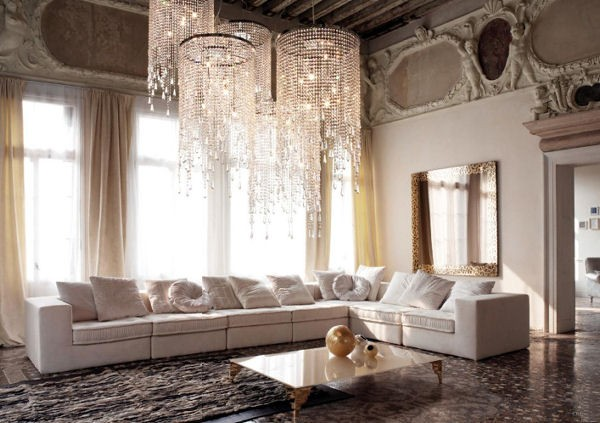 Large Living Room with Chandeliers