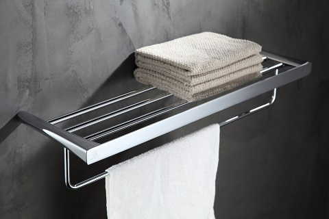 Caster 3-Series Towel Rack AC-AZ058 in Polished Chrome from Anzzi