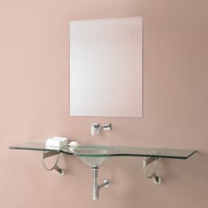 DecoLav Translucence Wall Mounted Vanity with Glass Counter and Integrated Sink