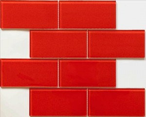 Glass Mosaic Tile Blocco Fireberry
