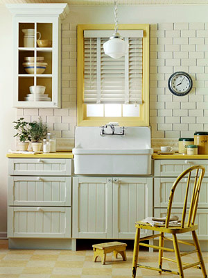An Apron Front Or Farmhouse Sink Adds A Wonderful Rustic Touch To Any Kitchen - And Simple Wood Work And Colorful Accents Go A Long Way, Too