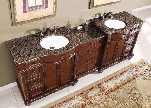"""90"""" Double Bathroom Vanity HYP-0213-UWC-90 from Silkroad Exclusive"""