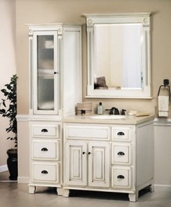 Complete Sagehill Vanities Victorian Collection, Including 36 Inch Vanity, Mirror, Linen Hutch, And Hutch Topper