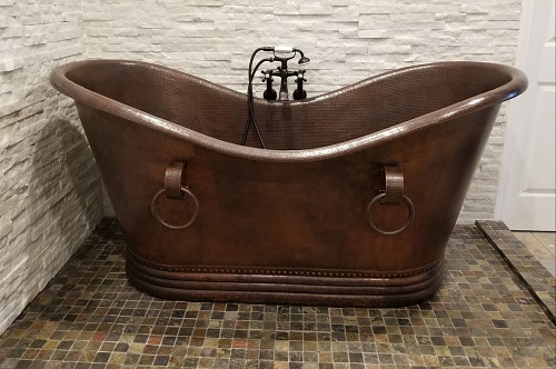 Hammered Copper Double Slipper Bathtub With Rings BTDR72DB from Premier Copper Products