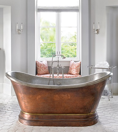 Medicis 6 Foot Copper Free Standing Soaking Tub With Center Drain 0711 from Herbeau