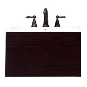 Sagehill Designs Wall Mount Wood Vanity Cabinet with Drawer from the Modesta Walnut Collection