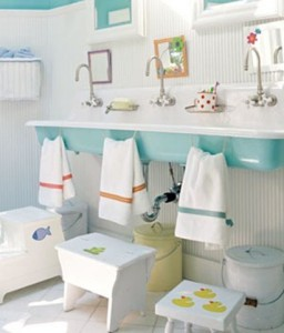 Small Cuztom Step Stools Make This Sink Accessible For All Your Kids, And Give Them Their Own Little Personal Touch