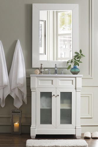 "Weston 30"" Transitional Bathroom Vanity with Glass Doors 148-V30G-CW-AF from James Martin Furniture"