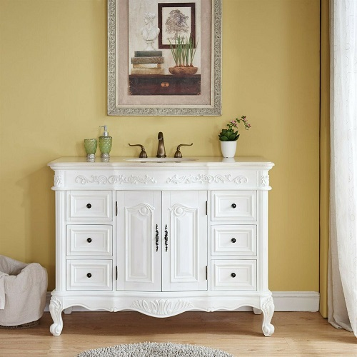 "48"" Single Sink Cabinet in Antique White HYP-0152-CM-UWC-48 from Silkroad Exclusive"