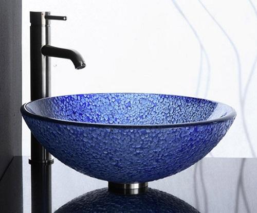 Blue Bits Tempered Glass Vessel Sink GV104BLM from Ryvyr