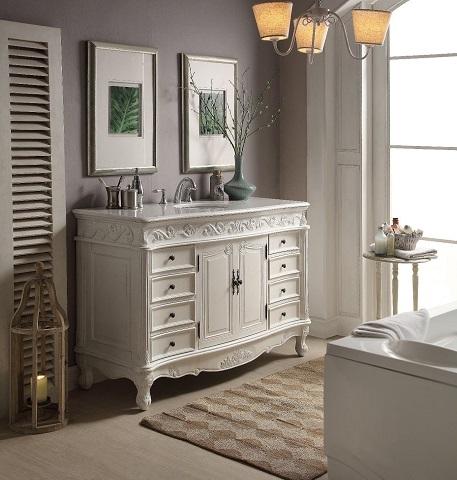 "Buckingham 56"" Single Bathroom Vanity Set in White MOD3882AW-56 from Modetti"