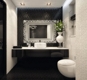 Having A Single Accent Wall Minimizes The Darkness In A Black And White Bathroom - The Matching Pattern On The White Walls Helps Unify The Look