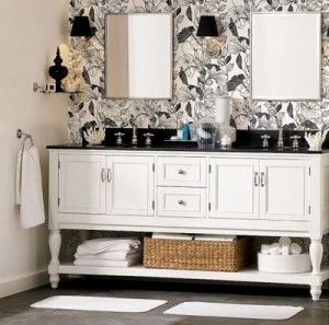 Just The Slightest Hints Of Black Make This White Vanity Look Dramatic And Modern