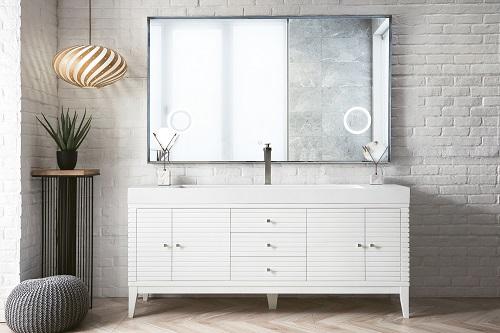 "Linear 72"" Single Bathroom Vanity in Glossy White 210-V72S-GW-GW from James Martin Furniture"