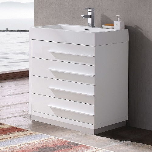 "Livello 30"" White Modern Bathroom Vanity Cabinet FCB8030WH from Fresca"
