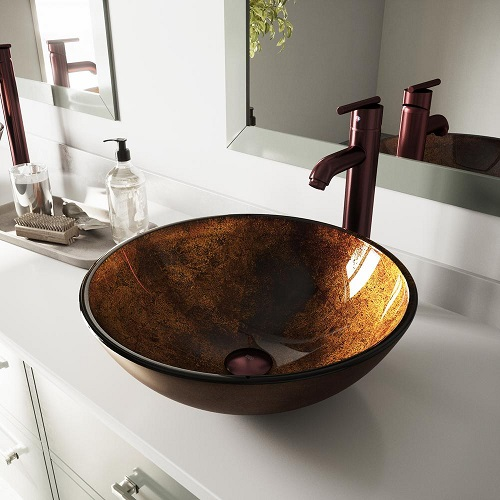 Russet Glass Vessel Sink and Faucet Set VGT128 from Vigo Industries