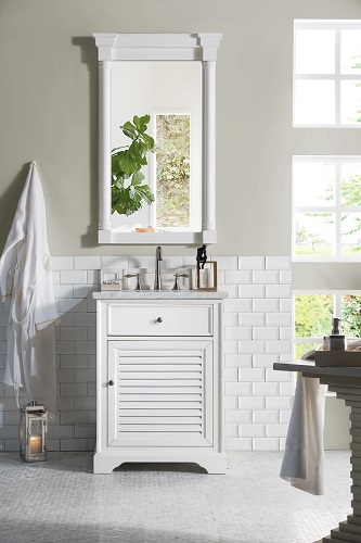 "Savannah 26"" Cottage White Single Bathroom Vanity 238-104-V26-CWH-2BLK from James Martin Furniture"