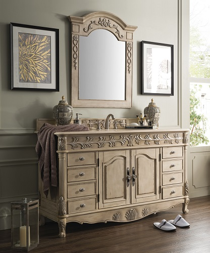 "St. James 60"" Single Bathroom Vanity 207-SJ-V60S-EL in Empire Linen from James Martin Furniture"