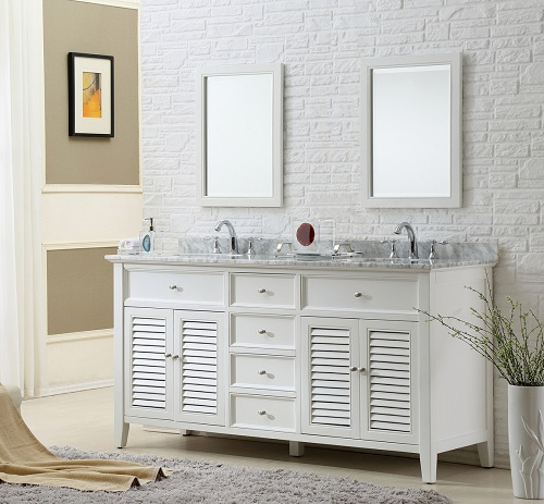 "Winslow 70"" Shuttered White Bathroom Vanity 6070D12-WWC-2M from Direct Vanity"