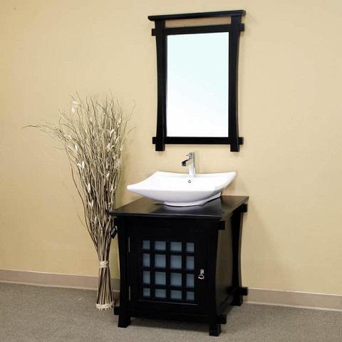 """30"""" Single Sink Solid Wood Bathroom Vanity in Black 203012 from Bellaterra Home"""
