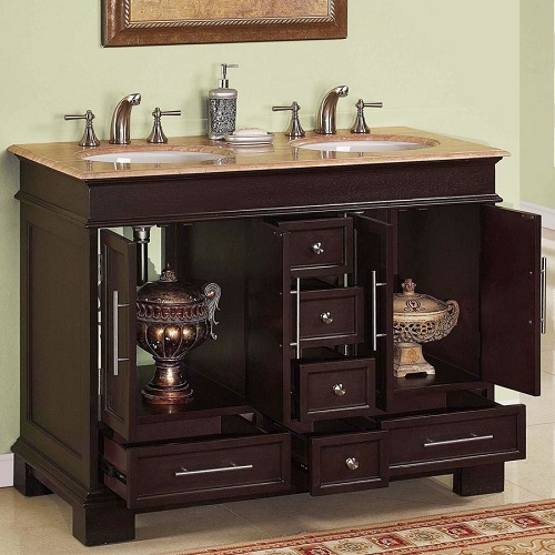 """48"""" Double Sink Cabinet HYP-0224-T-UWC-48 from Silkroad Exclusive"""