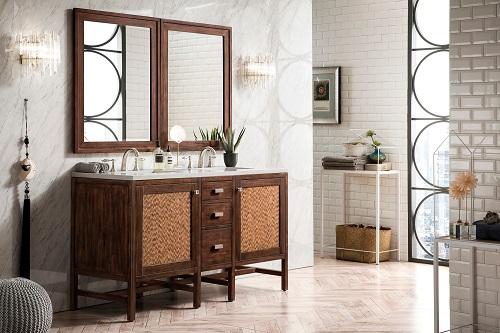 "Addison 60"" Double Vanity Cabinet in Mid Century Acacia E444-V60D-MCA-3CAR"