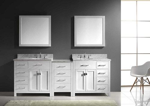 """Caroline Parkway 93"""" Double Sink Bathroom Vanity Set MD-2193-WMRO-WH from Virtu USA"""