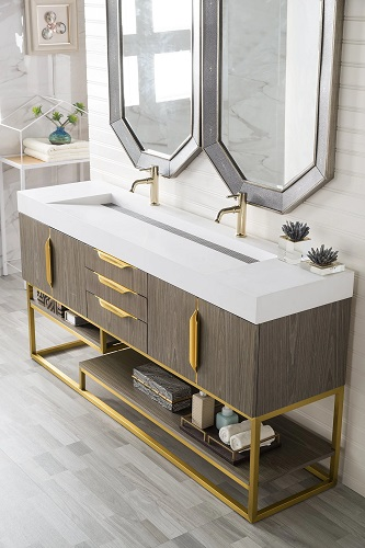 """Columbia 72"""" Double Bathroom Vanity in Ash Gray and Radiant Gold 388-V72D-AGR-RG from James Martin Furniture"""