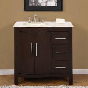 Dark Walnut Single Contemporary Bathroom Vanity HYP-0912-36-L