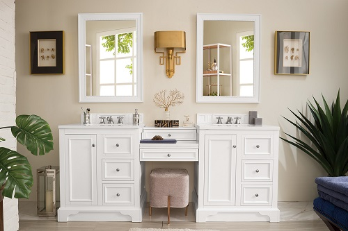 """De Soto 82"""" Double Bathroom Vanity Set with Makeup Table in Bright White 825-V82-BW-DU-AF from James Martin Furniture"""