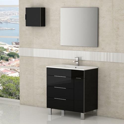 "Geminis 28"" Black Modern Bathroom Vanity EVVN530-28BL from Eviva"