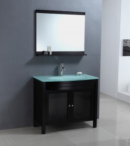 Glass Topped Black Vanity From Legion
