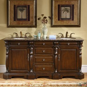 LTP-0176-72 Medium Mahogany Finish Double Vanity