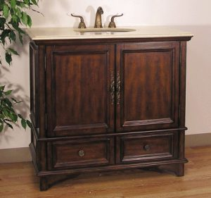 Solid Wood Dark Mahogany Finished Vanity From Legion Furniture