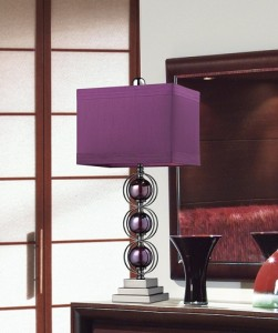 Alva Contemporary Table Lamp In A Black Nickel Finish With Triple Purple  Sphere Design
