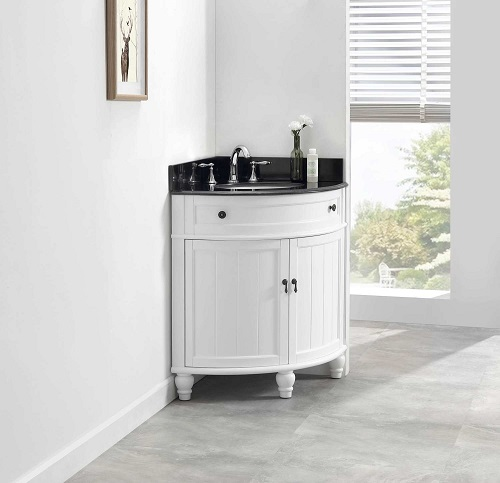 "Angolo 34"" Single Corner Bathroom Vanity Set MOD47533WH from Modetti"
