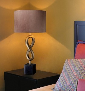 Athens Table Lamp in Oil Rubbed Bronze with Taupe Faux Silk Shade and Silver Foil Liner