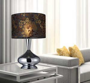 Avonmore Table Lamp in Chrome with Black Organza Shade with Flocked Patterned