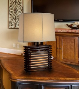 Burns Valley Table Lamp in Espresso Wood with Cream Linen Shade and Off-White Fabric Liner