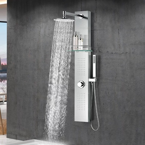 "Coastal 44"" Full Body Shower Panel System With Heavy Rain Shower and Spray Wand SP-AZ075 from Anzzi"