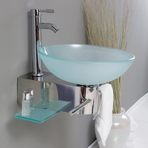 "Cristallino 18"" Modern Glass Bathroom Vanity FVN1012 from Fresca"
