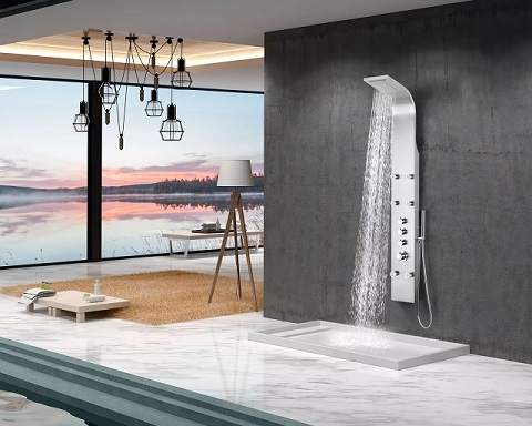"Fontan 64"" 6-Jetted Full Body Shower Panel With Heavy Rain Shower And Spray Want SP-AZ026 from Anzzi"
