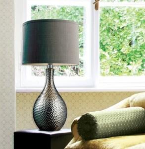 Hgtv Ceramic Table Lamp With Gray Shade