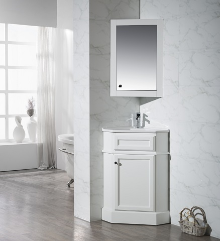 "Hampton 27"" Corner Bathroom Vanity With Medicine Cabinet TY-415PW from Stufurhome"