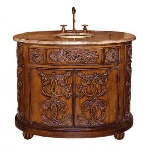 Legion Antique Walnut Vanity With Brown Marble