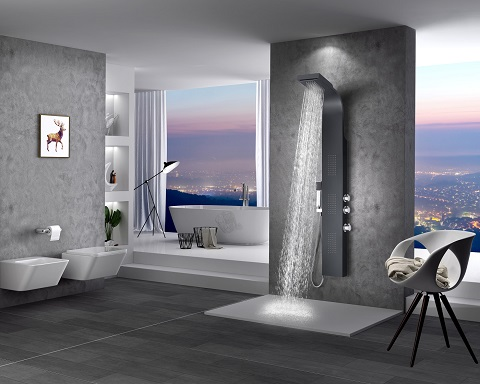 "Level 66"" Full Body Shower Panel System WIth Heavy Rain Shower and Spray Wand SP-AZ056 from Anzzi"