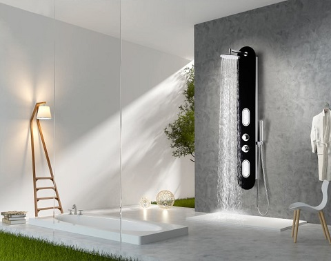 """Llano 66"""" Full Body Shower Panel System WIth Heavy Rain Shower and Spray Wand SP-AZ044 from Anzzi"""