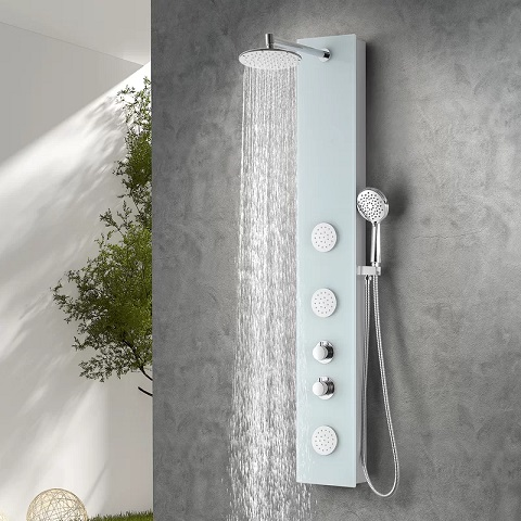 "Mare 60"" Full Body Shower Panel System With Heavy Rain Shower and Pray Wand SP-AZ050 from Anzzi"